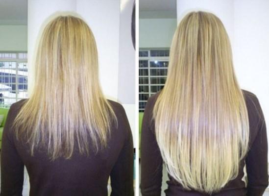 Foto do antes e depois da Carlinha, a minha amiga que me apresentou o VivaHair.