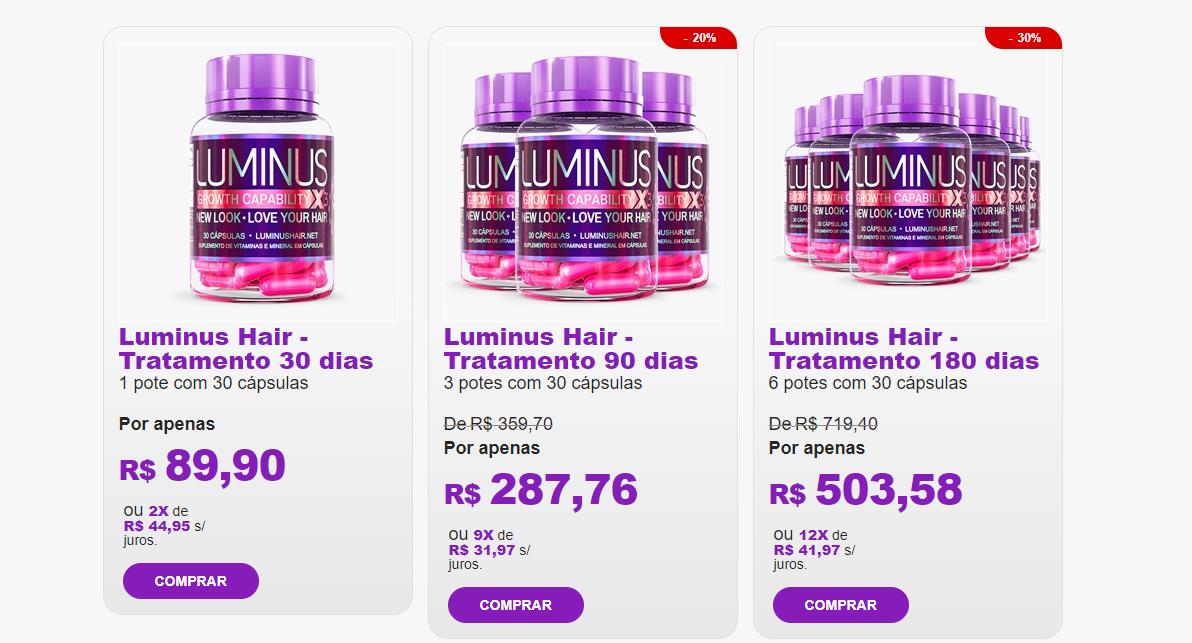 luminus hair preços