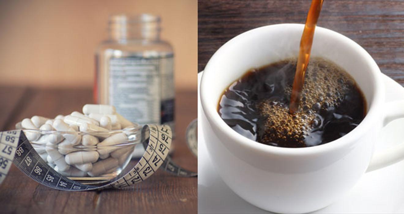 cafeína em capsulas com pote de suplemento