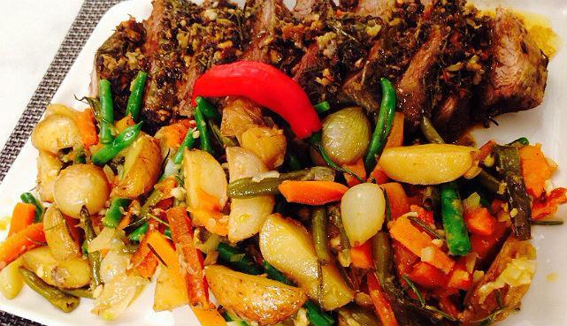 legumes assados no forno com frango