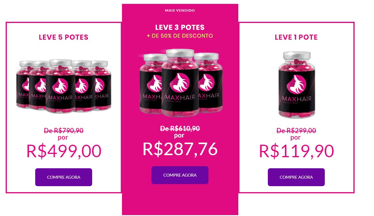 max hair preços