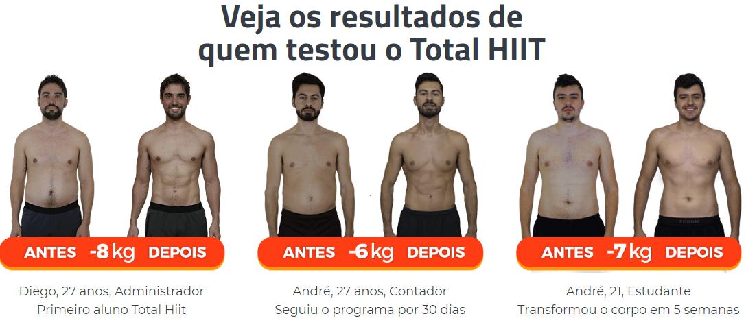 antes e depois de pessoas que já experimentaram o Total Hiit