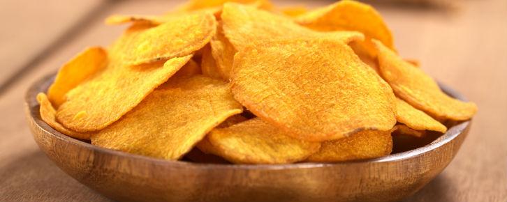 Lanches funcionais chips de bata doce